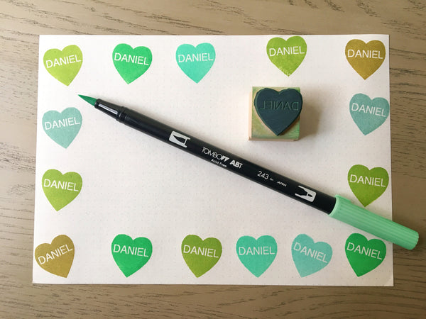 Custom Convo Heart Rubber Stamp