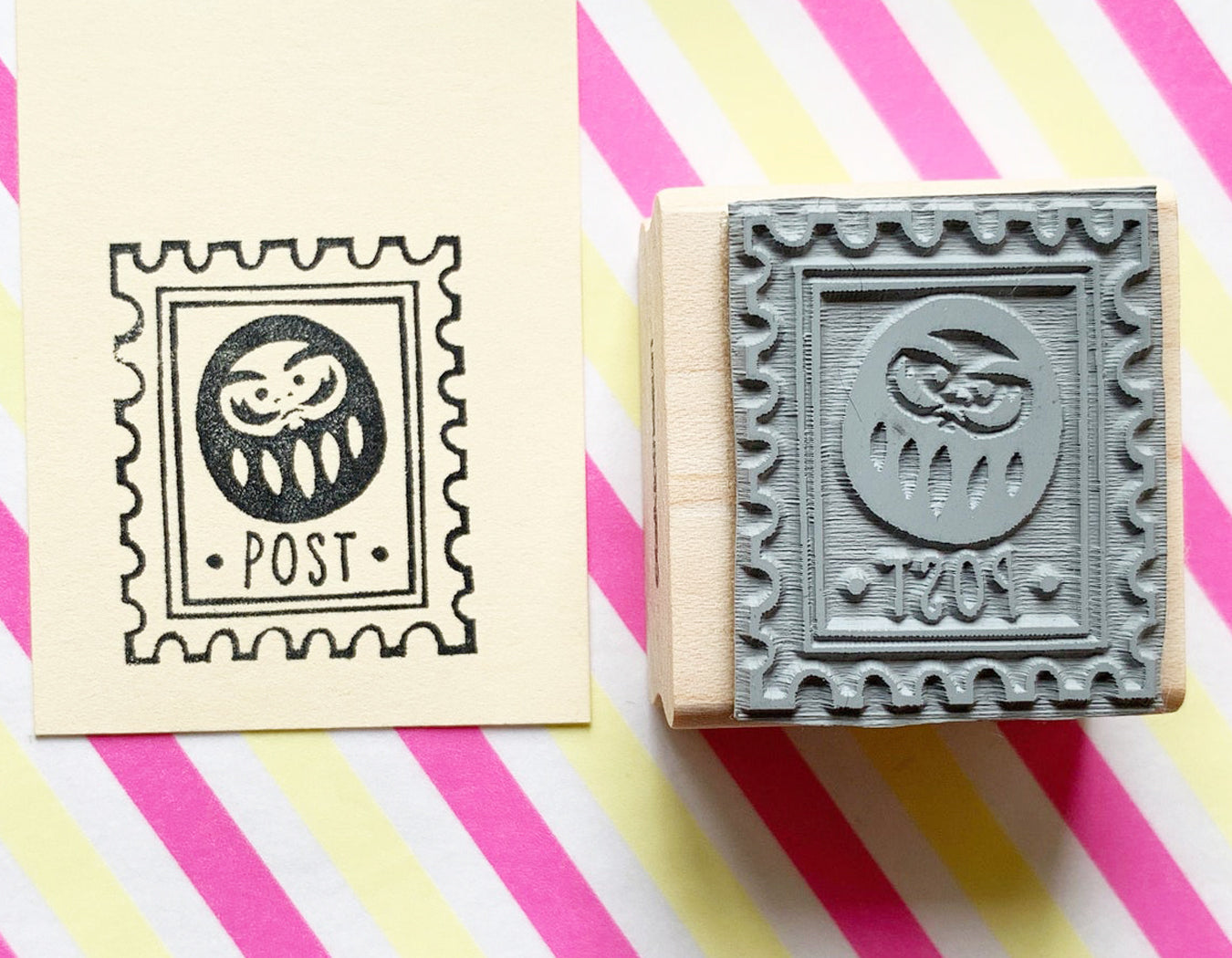 daruma doll stamp | postage stamp | daruma post stamp | japanese rubber stamp for snail mail, card making, gift wrapping | LIMITED EDITION- TALK TO THE SUN