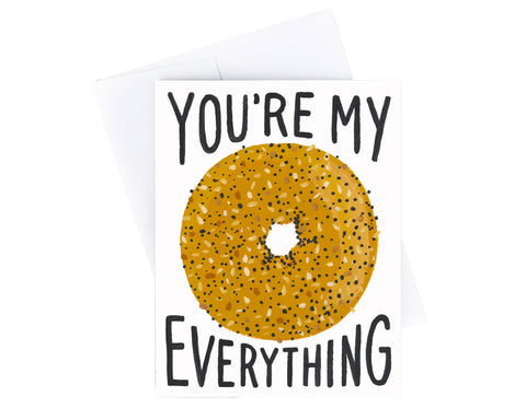 everything bagel illustration text reads you're my everything