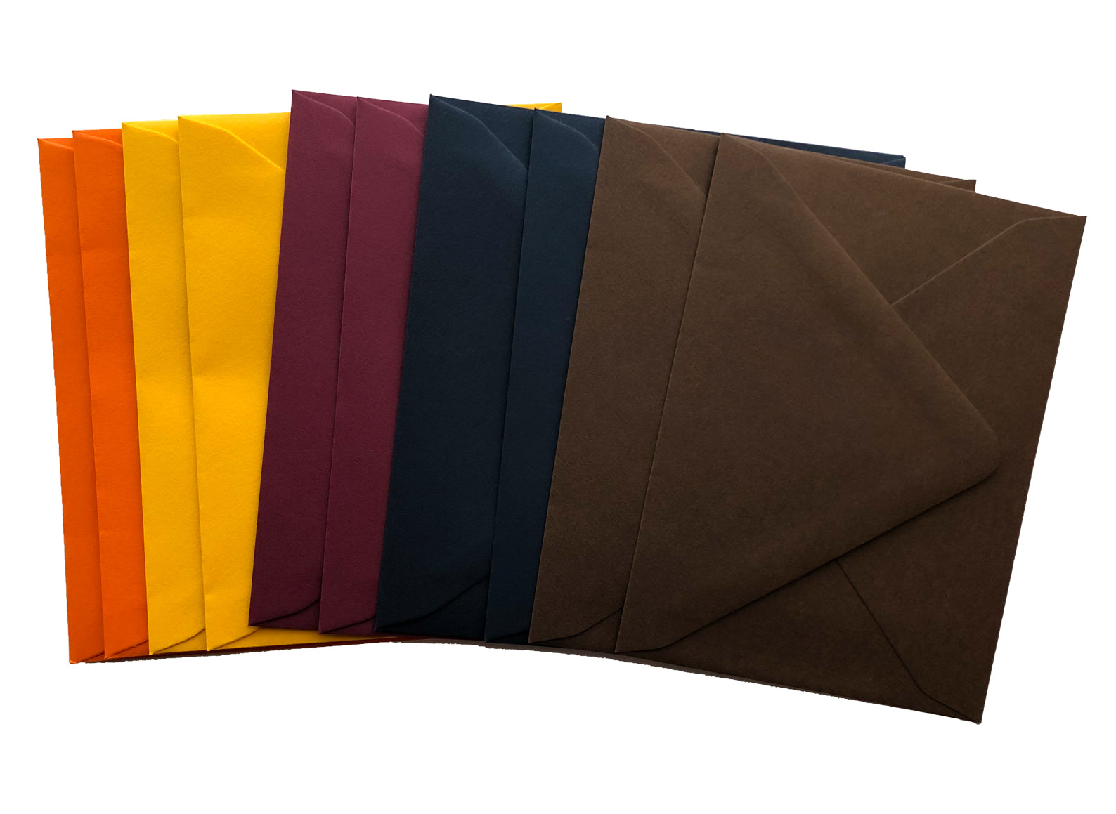 a set of 10 envelopes in fall colors- orange, yellow, burgundy, navy, and brown