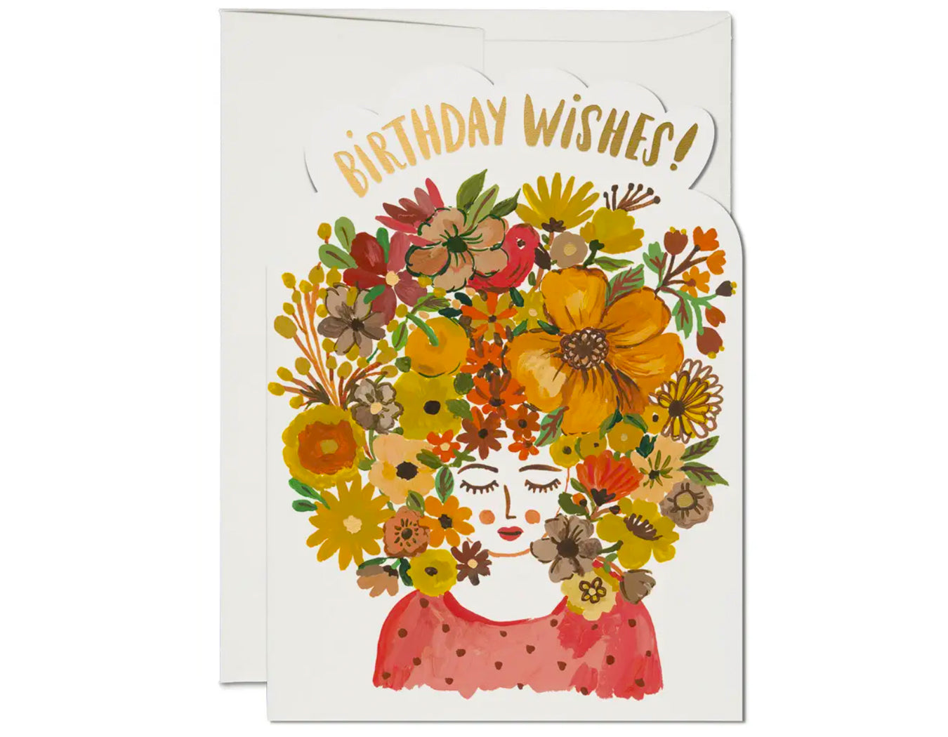 die cut card featuring a woman with floral tresses. birthday wishes in gold foil across the top.