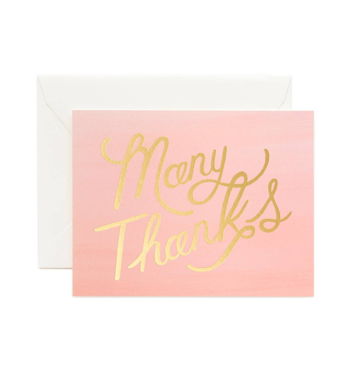 Pink Ombré Many Thanks Greeting Card