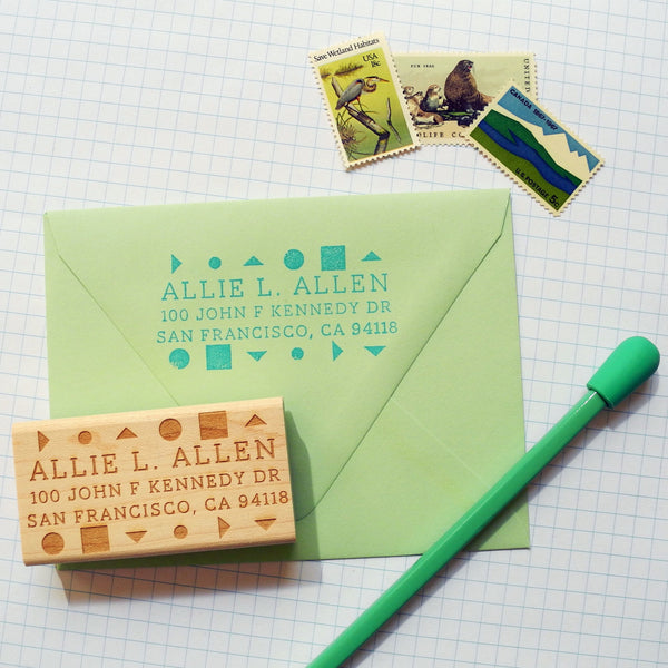 Geometric Custom Return Address Stamp
