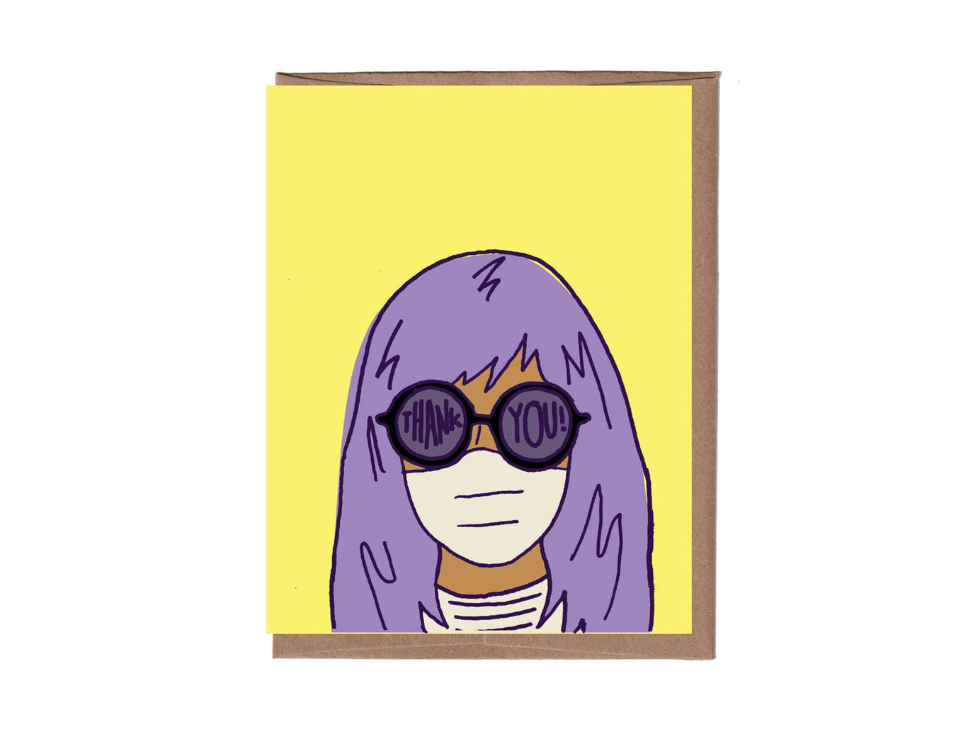 yellow background woman with purple hair, fogged up glasses read thank you! she's wearing a white mask.