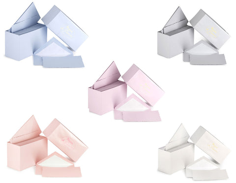 luxurious stationery sets with 30 cards and 30 envelopes in various colors- blue, oyster gray, mauve lavender, rose pink, and white. Made in France