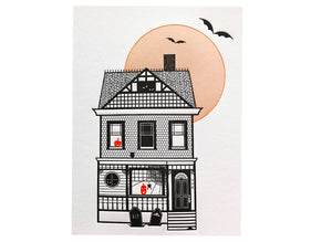 Haunted House Halloween Letterpress Card