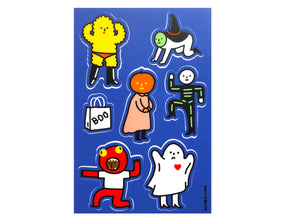 "Halloween costumes 7 vinyl stickers per sheet - sheet measures 4""x6"" - these are indoor stickers, but they're super durable!"