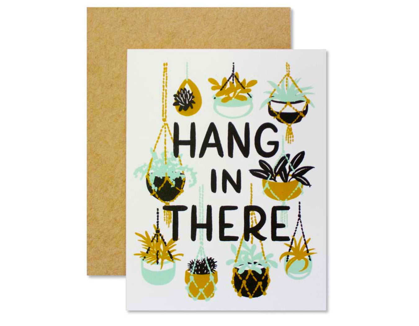 card features hanging plants text reads hang in there