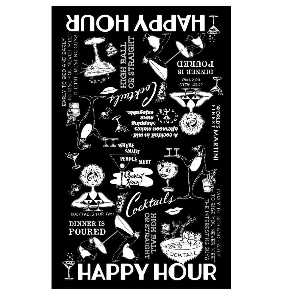 Happy Hour 100% Cotton Kitchen Towel