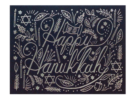 navy background silver foil printed text reads happy hanukkah