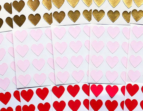 small heart stickers in gold, kraft, pink, and red