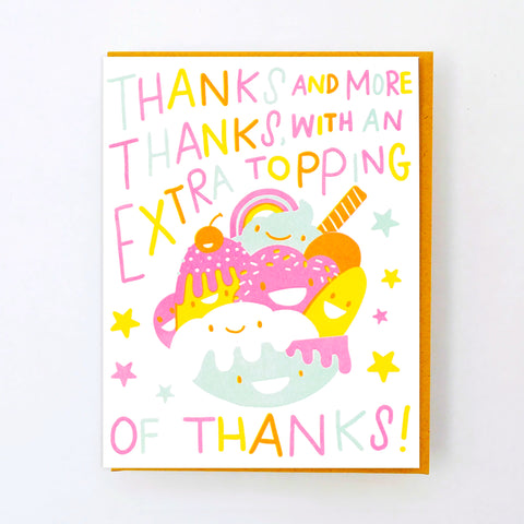 ICE CREAM SUNDAE THANK YOU LETTERPRESS CARD