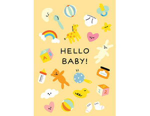 yellow background with baby toys illustrated text reads hello baby!