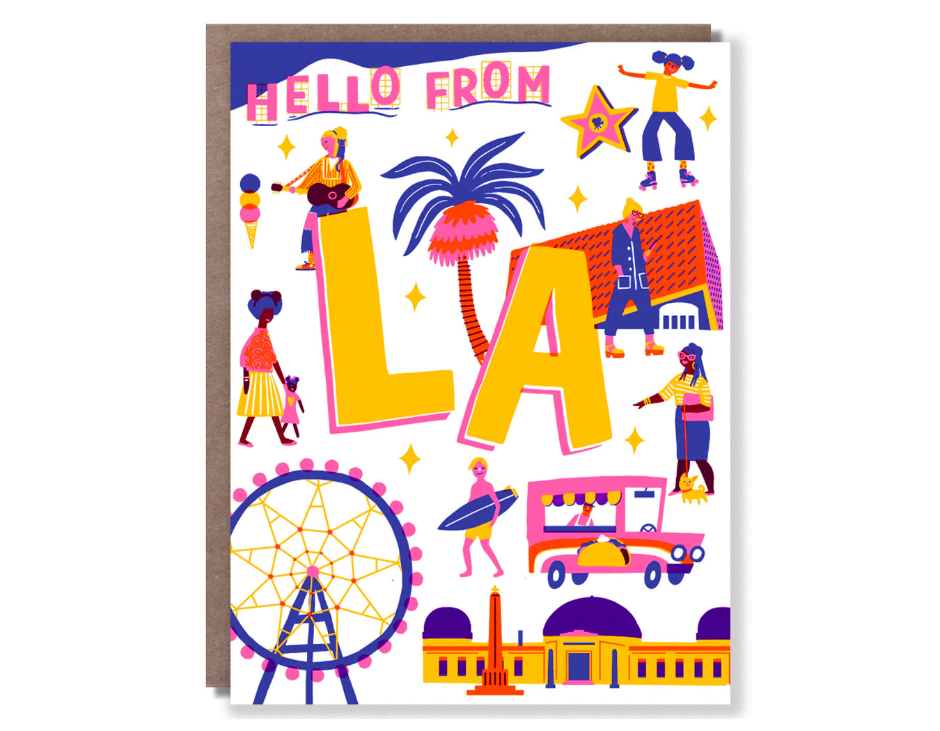 colorful illustrations of los angeles activities.  text reads hello from la