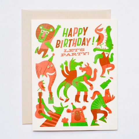WILD ANIMAL PARTY LETTERPRESS BIRTHDAY CARD