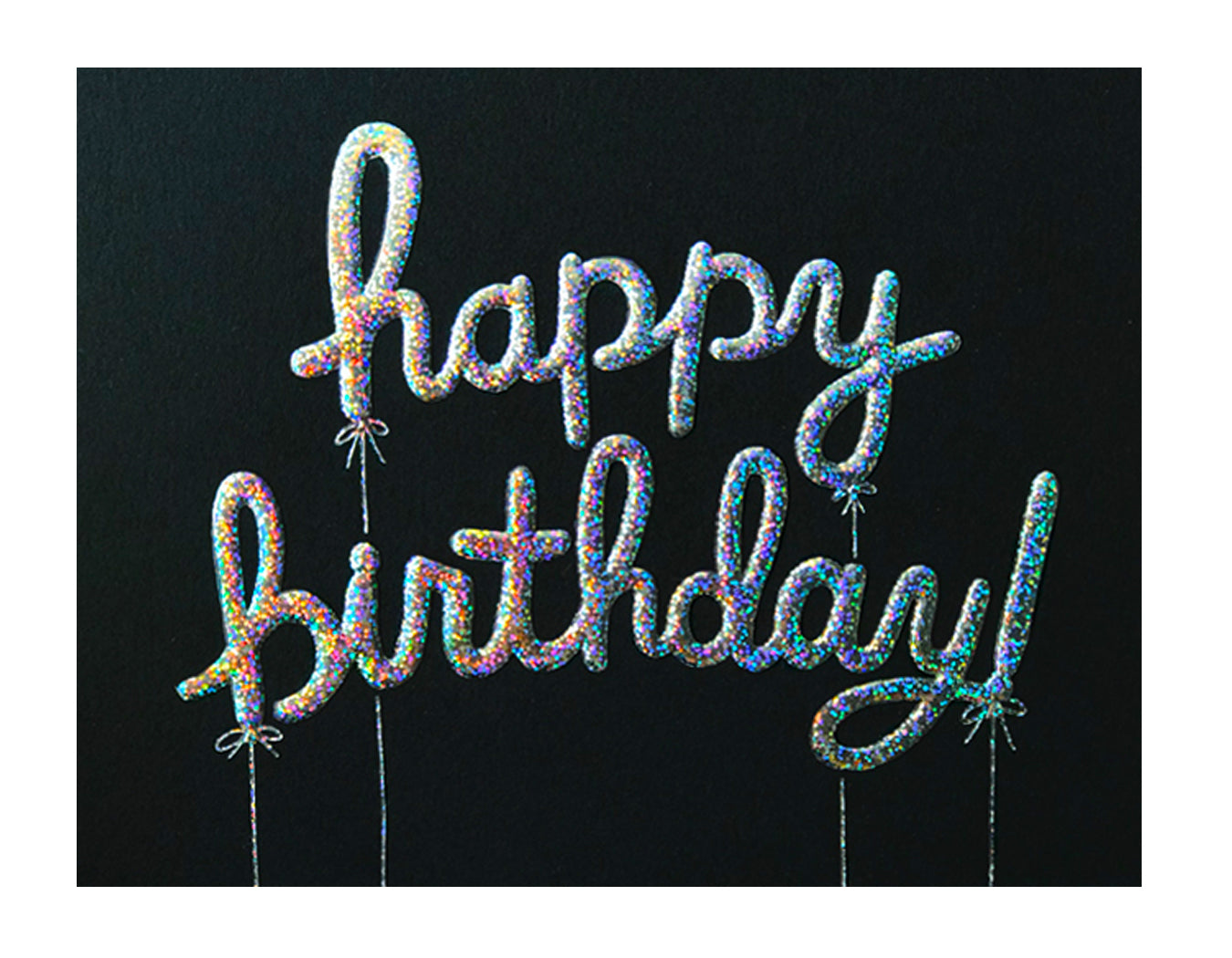 holographic silver foil spells house happy birthday in balloons on front of card