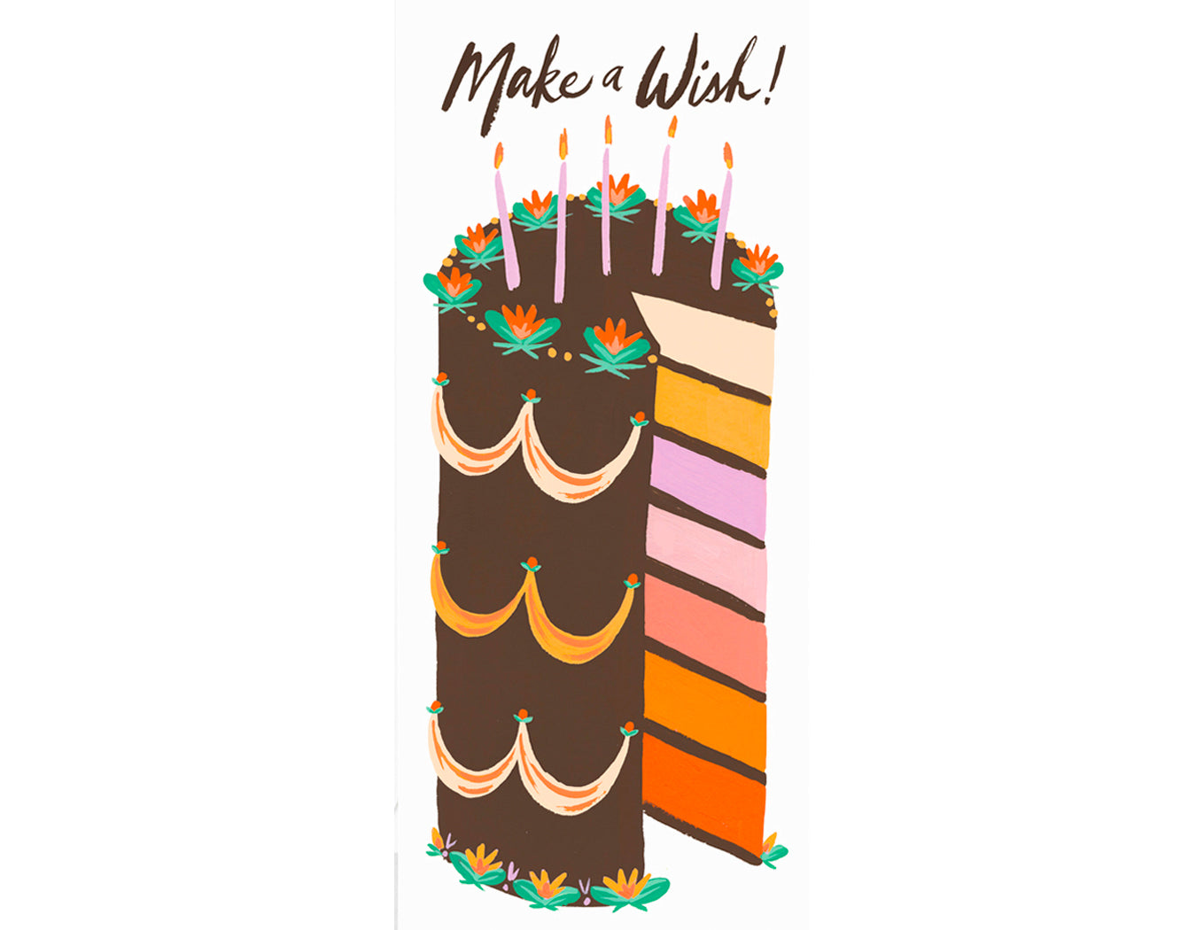 text reads make a wish! tall layer cake with different color layers and chocolate frosting.