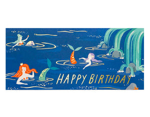 mermaids in a lagoon text reads happy birthday in gold foil