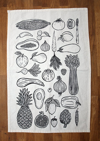 Farmer's Market Fruit & Veggie Tea Towel