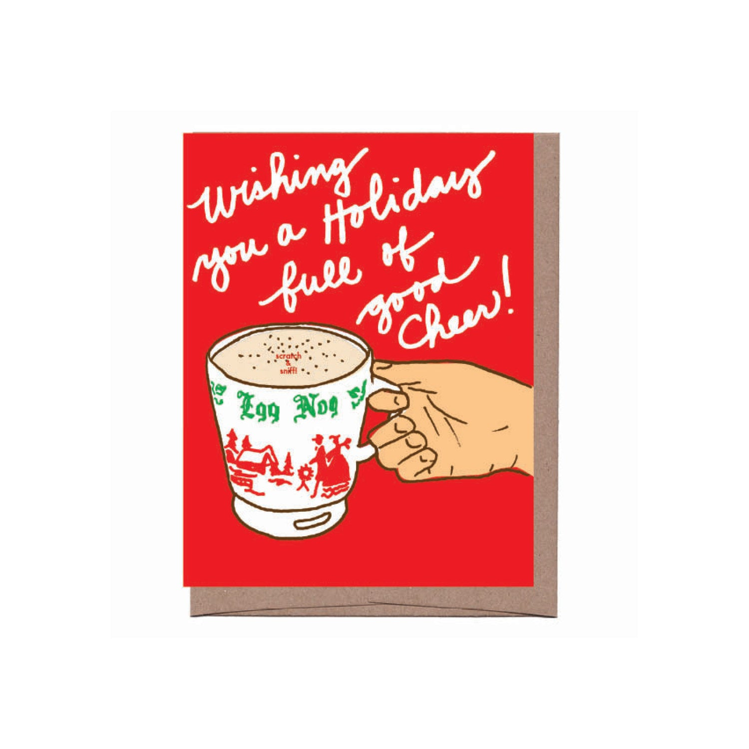 red background hand holding holiday mug scratch and sniff egg nog scent- text reads wishing you a holiday full of good cheer!