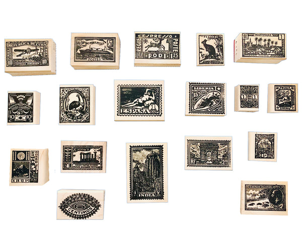 A group of rubber stamps inspired by vintage postage stamps from all over the world.