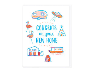 AIRSTREAM TRAILER, UFO, TEEPEE, HOUSE BOAT, MOUSE HOUSE, SINGLE LEVEL HOME, LAWN FLAMINGOS SURROUND THE TEXT CONGRATS ON YOUR NEW HOME
