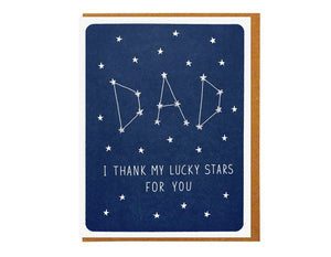 DARK BLUE BACKGROUND WITH STARS THAT SPELL DAD LIKE A CONSTELLATION AND TEXT READS DAD I THANK MY LUCKY STARS FOR YOU
