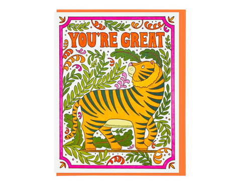 tiger illustration with vines and pink frame text reads you're great