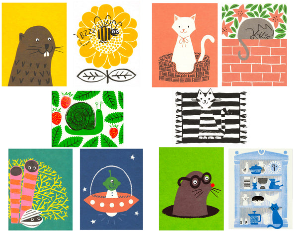 brown beaver on yellow background. buzzing bee on flower. white cat with pink bow in basket. gray cat on brick wall. green snail surrounded by leaves. black and white cat on black and white rug. yellow coral with clam. blue background with green alien in spaceship. gray mole with red nose and glasses. blue cat with beautiful display shelves.