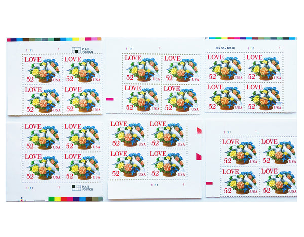 VINTAGE POSTAGE STAMP SHEET Love Series 52 Cent MNH Sheet of 50 Scott #2815