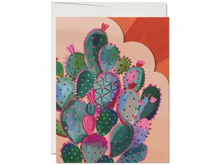 Die cut cactus on front, inside fully illustrated sunset text reads thanks for being so magnificent