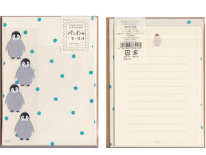 Midori Penguin Stationery Set with stickers
