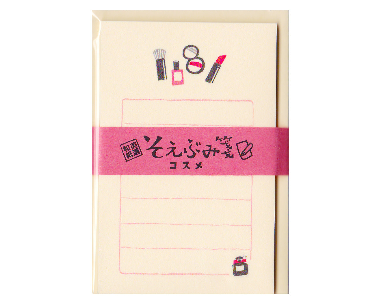 mini stationery set with cosmetics printed and 7 lines.