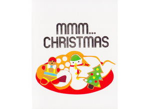 reproduction of cut paper collage of christmas cookies text reads mmm...christmas