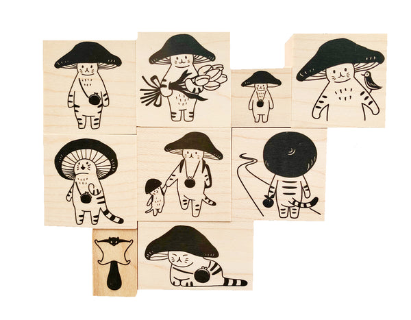 Mushroom Cat is a cat with a Toadstool hat. We offer 9 rubber stamps, 1 postcard and 1 stationery sheet design from this Japanese line.