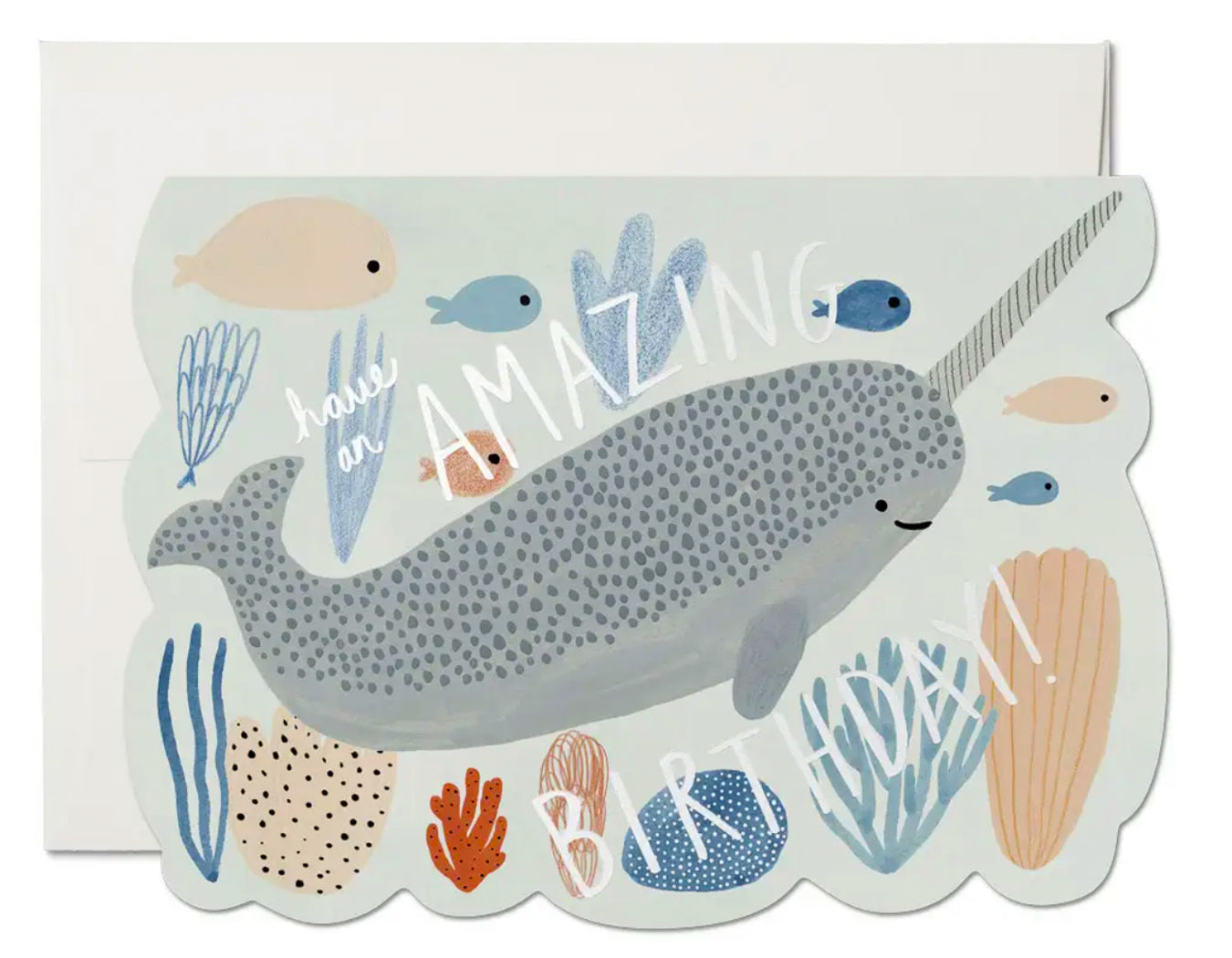 die cut birthday card with narwhal and fish