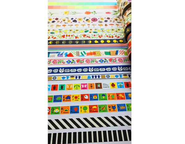 lots of different and vibrantly colored washi tape
