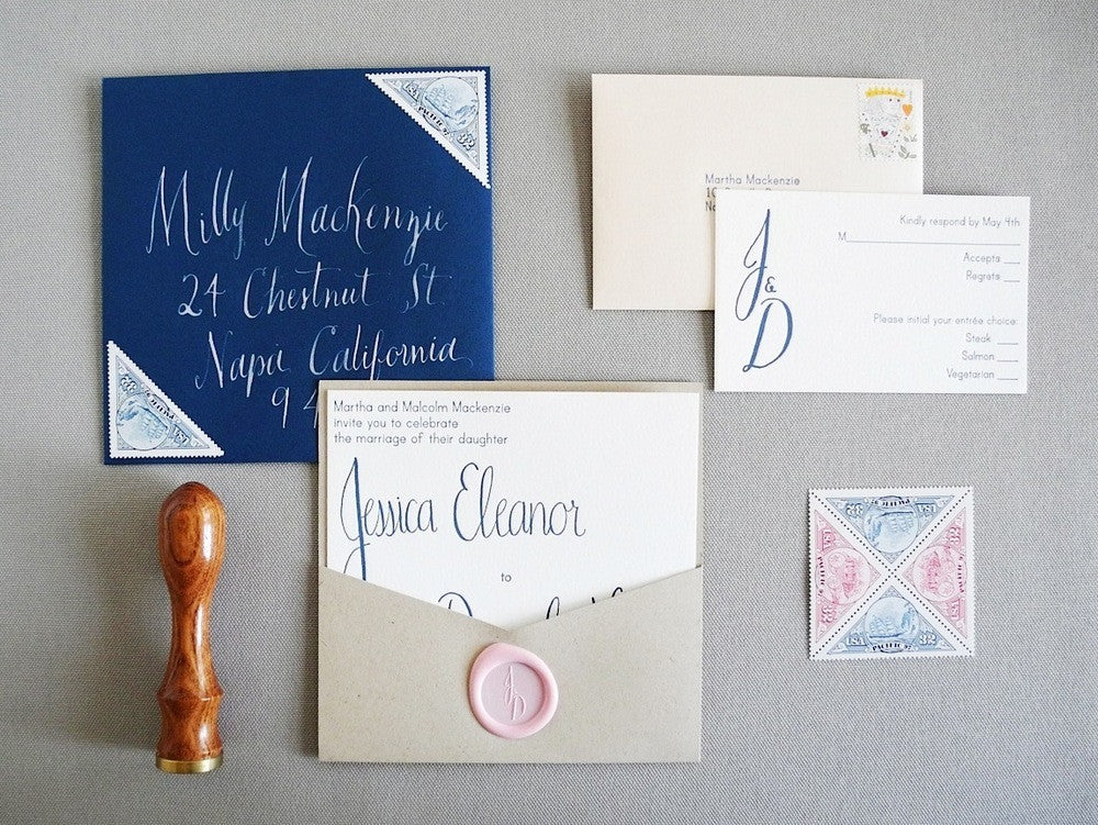 Custom Calligraphy or Hand lettered Text for Wedding Invitation (deposit)