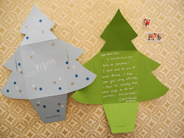 Evergreen Tree Note and Envelope Template