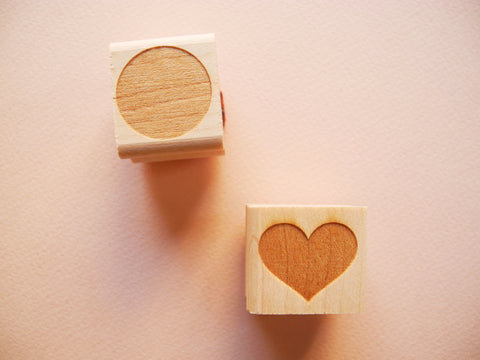Mini Dot + Heart Rubber Stamp Set