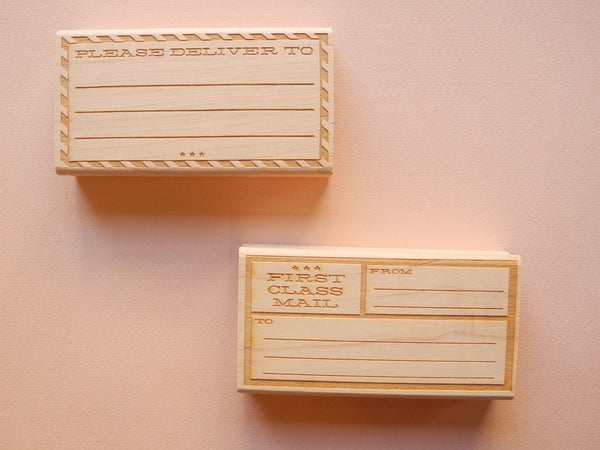 Border Address Rubber Stamps