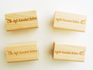 Right or Left Handed Letter Rubber Stamp