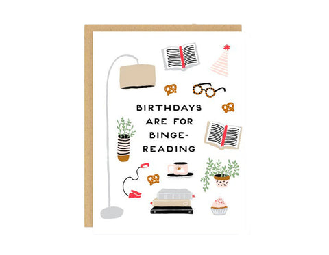 Binge-Reading Birthday Card