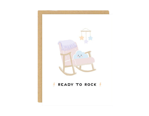 Ready to Rock Baby Card - baby shower, new parents, expecting, pregnancy, gender neutral, funny, parenthood