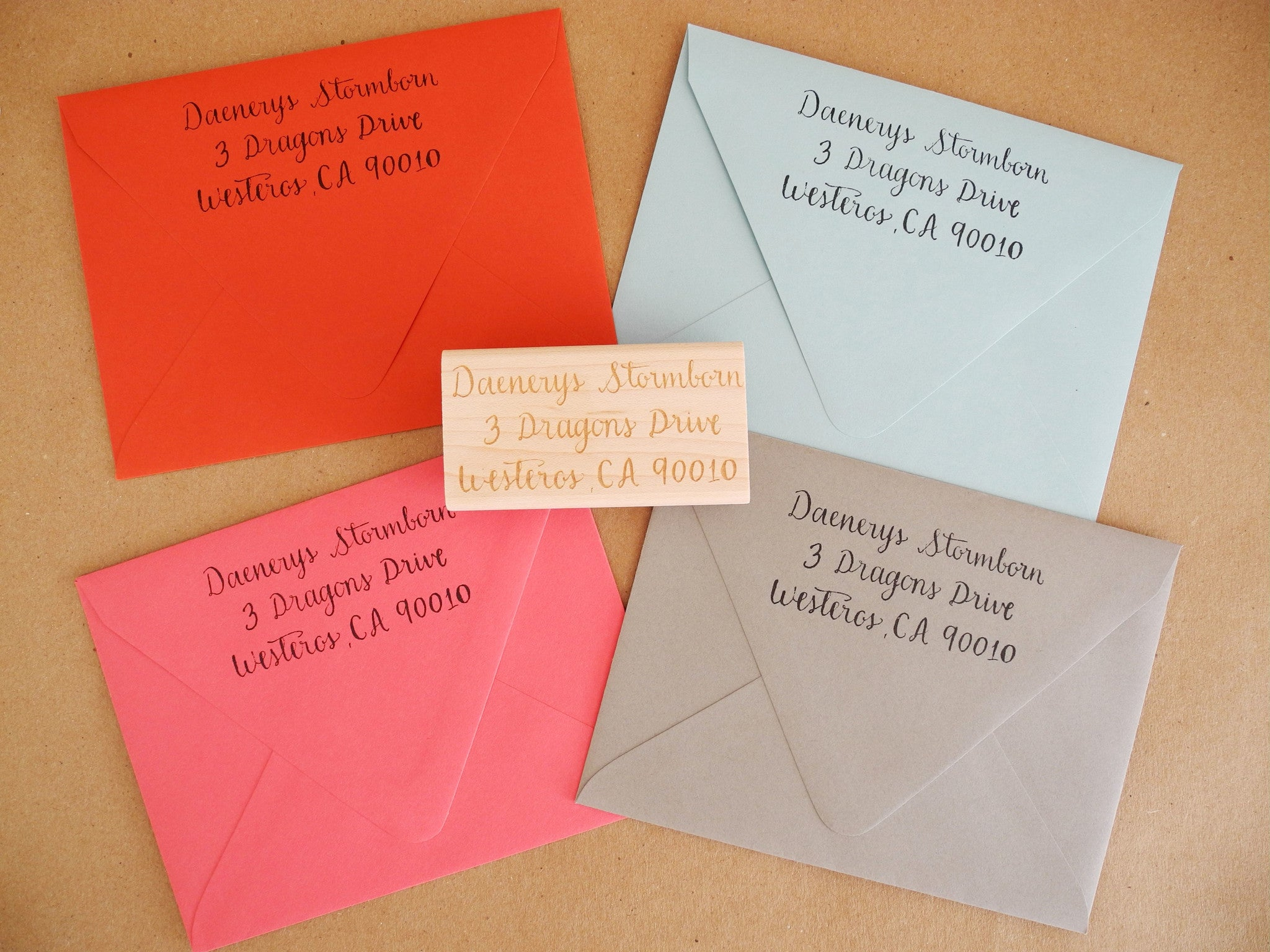 Personalized Calligraphy Name or Address Stamp – Paper Pastries