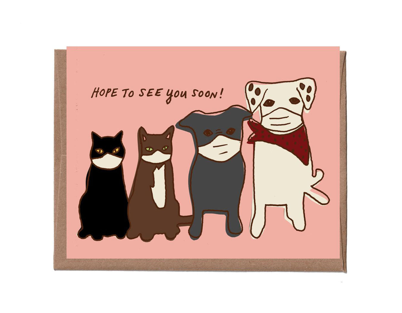 Pets in Masks Card