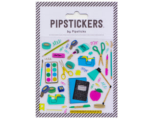 fun colorful sticker sheet featuring school supplies: tape dispenser, apple, lamp, composition book, scissors, glue, pencil, paper clip, pink pearl, sharpener, ruler