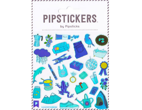 sticker sheet featuring blue objects- couch, paint, bird, nest, jeans, bath, mailbox, frog, shark, watering can, sneakers, mountains, dolphin, plane, rain, ribbon, glass of water, diamond, passport, cloud, flower