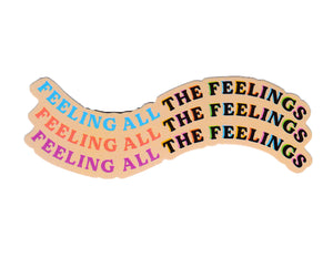 peach background text reads feeling all the feelings in multiple colors