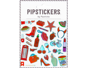 red themed sticker sheet- star fish, watermelon, devil horns, lips phone, red wine, hot sauce, cherries, heels, rose, view finder, telephone booth, cowboy boots, red nail polish, bacon, spaghetti, lego, crayon, heart, lipstick
